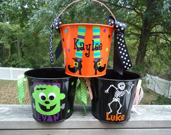 Personalized Halloween trick or treat bucket - Many designs to choose from
