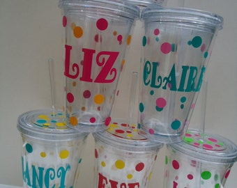 8 Personalized Acrylic tumblers: New larger 20 ounce acrylic tumblers with lid.  Mix and match. Great gifts.