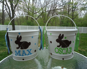 10 Quart Personalized Easter bucket basket pail - bunny