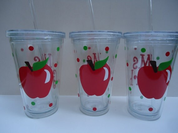Acrylic tumblers: 6 Personalized acrylic tumblers for teachers with lid.  Mix and match. Great gifts.