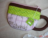 GUO GUO'S-Hand Stitched Tea  Cup Pouch / Coin Purse/holder