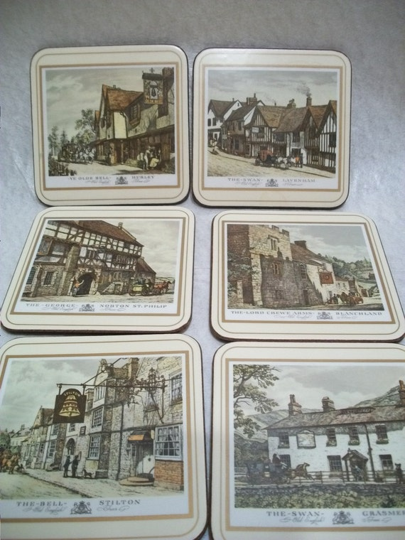 Vintage Pimpernel Coaster Set, English Inns, Made in England, Original Box Included