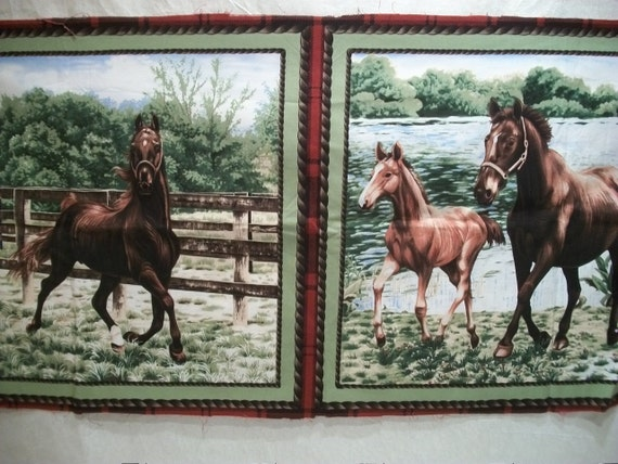 Printed Fabric Panels with Horses, Two Different Horse Scenes