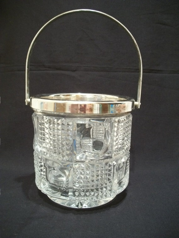 Vintage Cut Glass 1930s Art Deco Ice Bucket, with Silver Plate Metal Rim and Handle