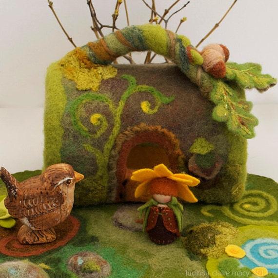 Mossy Log Felt Gnome Home