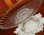 Carved Glass Oval Plate Dessert Appetizer Relish Pedestal No. 062 (10x7x4 inches)