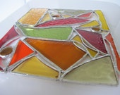 Stained Glass Panel Medium SuncatcherWarm Stained Glass Custom Red, Orange, Amber and Green Toned Anniversary Wedding Housewarming Happy