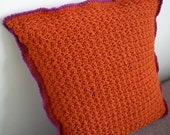 Star stitch square cushion cover in burnt orange, raspberry and oatmeal