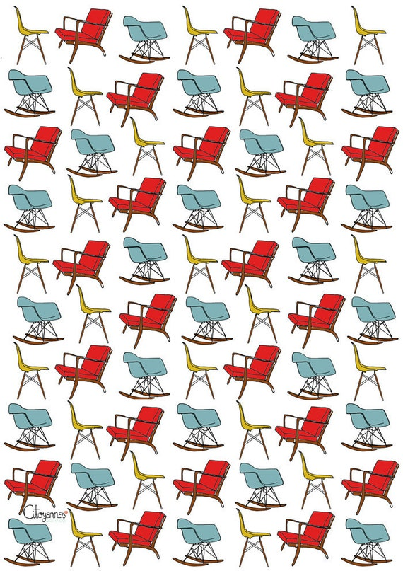 SALE! 10 sheets wrapping paper for Eames lovers