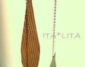 Long beige and ivory leather earrings