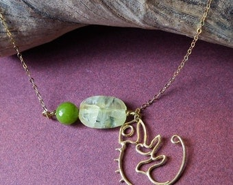 Chamaileon, a gold plated sterling silver pendant ,with jade and green tourmalinated quartz
