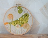 Hoop wall art 6 inch frame embroidery green bird fiber art