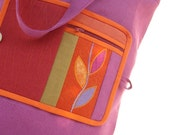 Peony Fold-up Leafy  Eco Shopping Bag made from magenta linen fabric ornamented with leafy motif on a wool felt base.