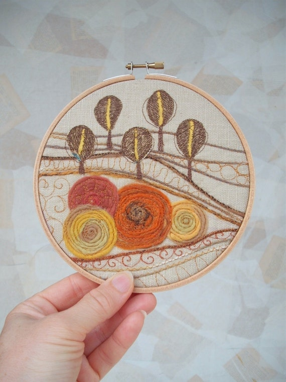 Autumn Forest Fiber Art Embroidery Hoop Wall Art By Colettecolor
