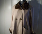 Wool Swing Coat with Leopard Fur Collar