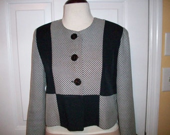 Black/White Colorblock Jacket/Top SZ 12