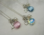 Sterling Silver Initial Necklace Junior Bridesmaid Necklace Monogram Bridesmaid Jewelry Personalized Bridesmaids Gifts Flower Girl Necklace