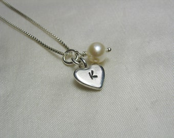 Initial Necklace Personalized Bridesmaid Jewelry Monogram Heart Necklace Bridesmaid Necklace Flower Girl Jewelry Bridesmaid Gift