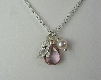 Bridesmaid Jewelry Set of 5 Personalized Bridesmaid Gift Initial Necklace Bridesmaid Necklace Silver Leaf Winter Wedding Jewelry