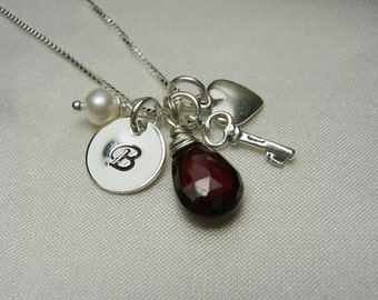 Initial Necklace Mothers Necklace Birthstone Necklace Personalized Necklace Monogram Necklace Personalized Jewelry Key to My Heart Necklace
