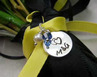Personalized Jewelry - Bridal Bouquet Charm - Bridal Jewelry - Bridesmaid Gift - Wedding Jewelry Bridesmaid Bouquet Initial Charm