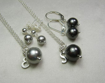 Bridesmaid Jewelry Set - Initial Pearl Bridesmaid Necklace Earrings - Personalized Bridesmaid Gift - Black Grey Wedding Jewelry