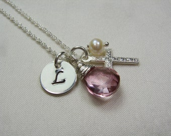 Personalized Necklace Initial Necklace Birthstone Necklace Mothers Necklace Silver Cross Necklace Baptism Jewelry Confirmation Jewelry Gift