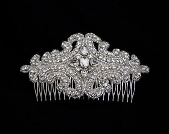 Bridal Hair Comb,Bridal headpiece,wedding hair comb, silver hair comb,beaded hair comb,wedding head piece,winter wedding