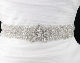 Designer Bridal Sash,Rhinestone bridal sash,bridal Sash Belt,beaded belt,vintage wedding,rhinestone wedding belt,wedding gown belt
