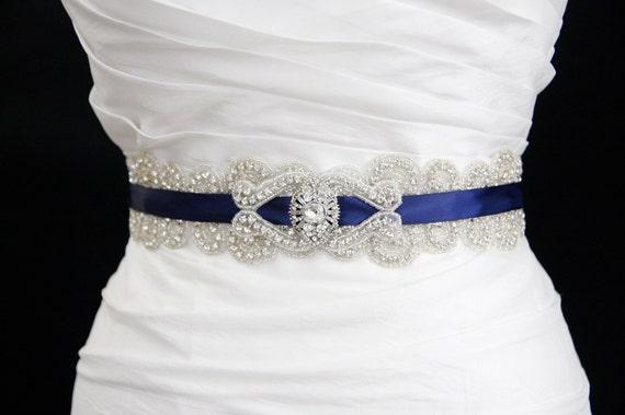 Great Gatsby Bridal sash,bridal sash, bridal accessories,beaded belt, wedding belt,Vintage wedding,dress belt,blue belt,rhinestone belt,sash