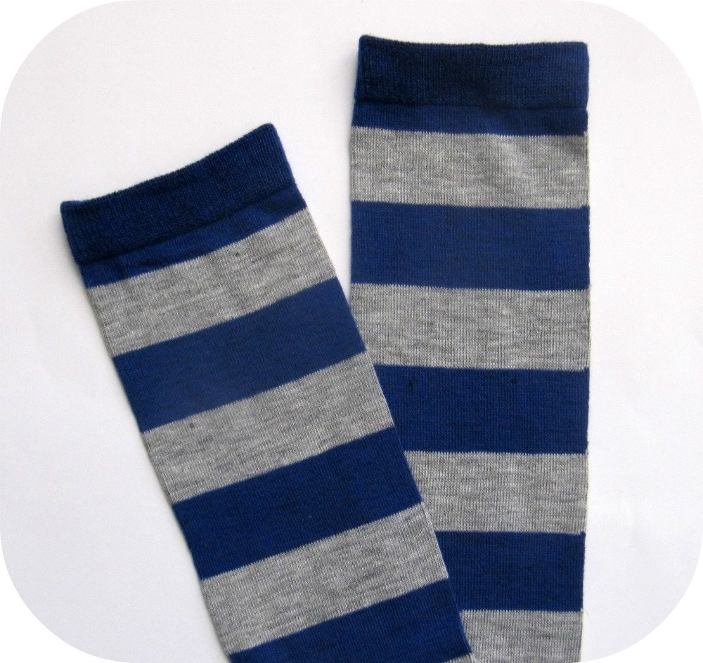 royal blue and gray rugby striped leg warmers. Black Bedroom Furniture Sets. Home Design Ideas