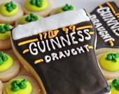 2 Pint of Guinness Sugar Cookies & 12 Shamrock Cookie NIbbles- St. Patrick's Vanilla Sugar Cookie Set