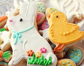Easter Bunny & Chick Cookie Set w/ a dozen mini Easter Cookie Nibbles