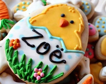 Personalized Easter Chick Vanilla Sugar Cookie with a dozen Mini Easter Nibbles