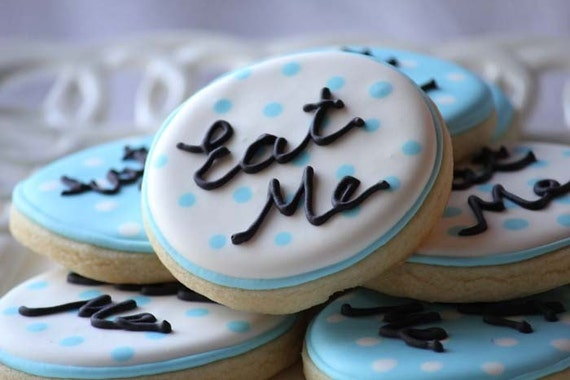 A dozen Eat Me Cookies for your Alice in Wonderland Themed Party