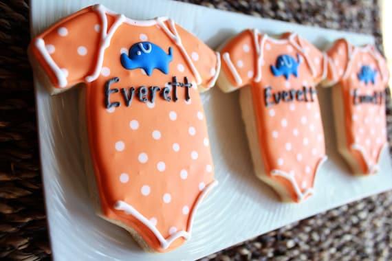A Dozen Elephant Onesie Vanilla Sugar Cookie perfect for your Baby Shower