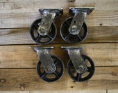 Antiqued 5 inch Swivel Casters Top Mount Set of 4