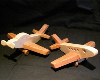 Wood Airplane/Wooden Jetplane/Room Decoration/Heirloom Collector Item/Children's Toy