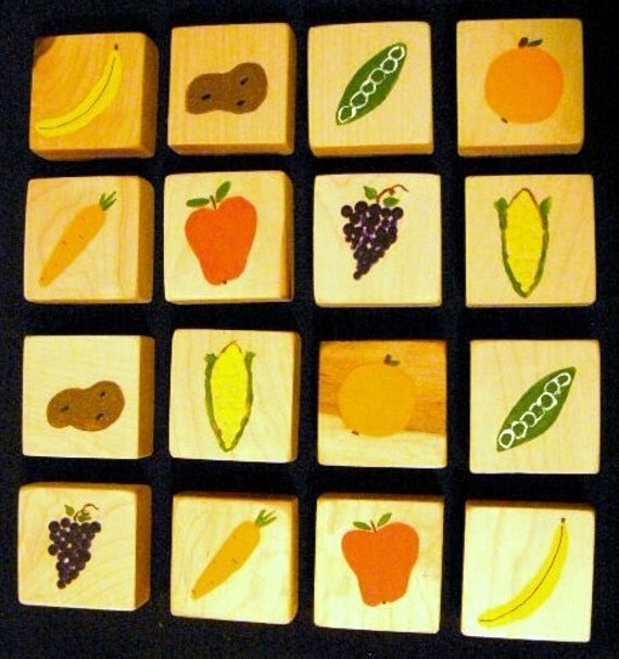 Fruit & Veggie Memory Game/Matching Game/Wooden Game for Children/Educational Toy