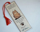 Cat Bookmark Orange Tabby Cat Comical Bookmark for Cat Lovers Book Lovers Laminated with Tassel