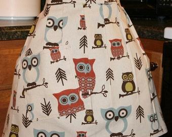 Ladies Teen Apron Hoot Owl Half Apron