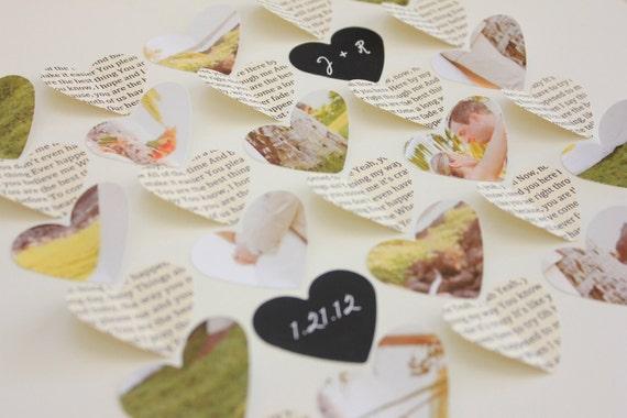 Wedding Song lyric art collage - custom wedding gift , song lyrics with photo 3d paper heart frame , unique wedding gift idea.