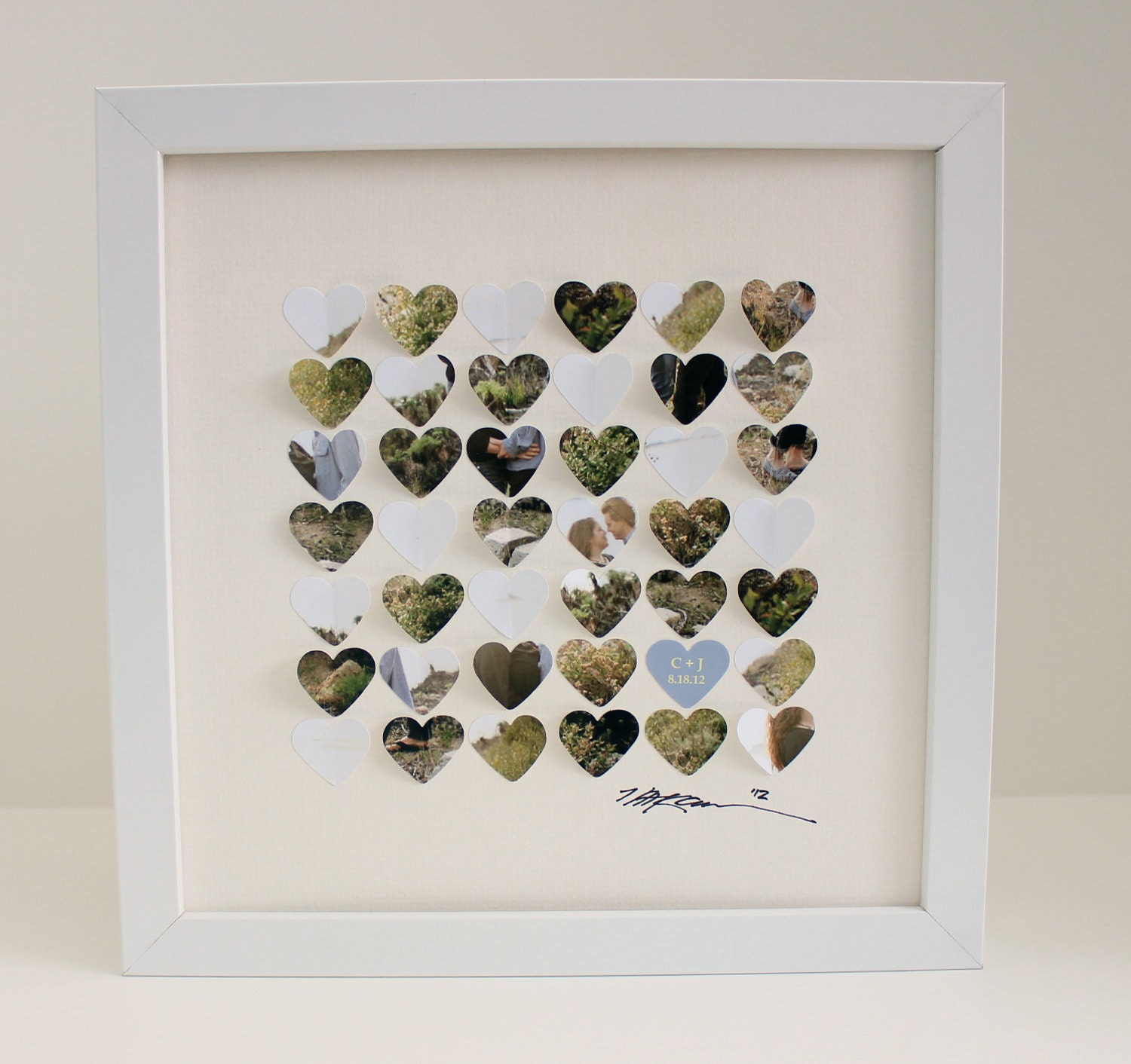 Unique Wedding Gifts For Close Friends : Wedding picture 3d heart frame special dates 1st by CeladonHome