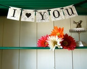 I (Love) YOU Banner Garland Decoration Silver Damask