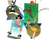 4 Frisky Girls, Art Deco Gift Tag Set