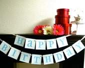 Happy Birthday Banner Sign Pale Blue Garland Decoration
