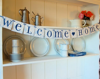 Welcome Home Banner, Blue & White, Sign Garland Decoration. Ships USPS to USA