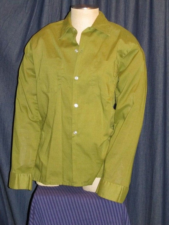 Vintage Mens Long Sleeve Green Button Up Dress Shirt
