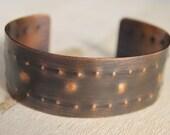 Copper Cuff Bracelet Textured Unisex Jewelry Dot Pattern Polka Dot