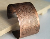 Etched Copper Wide Cuff Bracelet Aged Patina Handmade Metalwork Jewelry